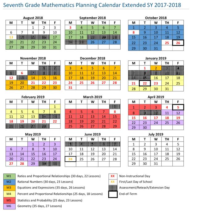 7th Grade Planning Calendar by DC Public Schools