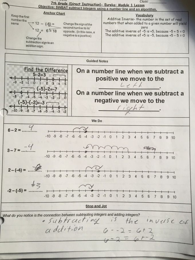 Guided notes on subtracting integers, featuring visual models