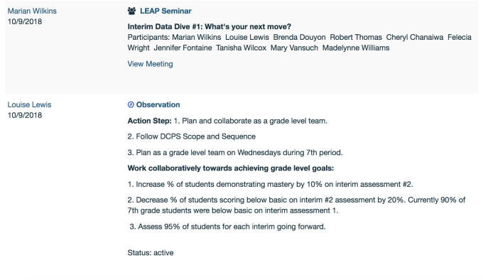 Based on summative assessment data, the 7th grade team created action steps to improve on the second summative assessment. We co-plan more often and hold each other accountable to staying on-pace with the curriculum.