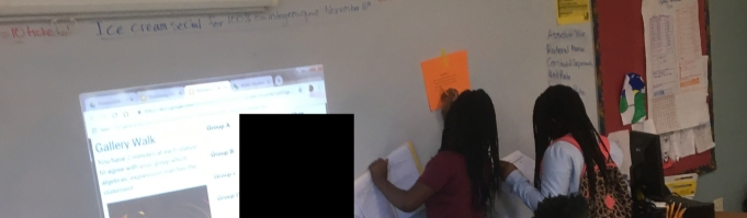 Students working in small groups on gallery walk. This group includes one high SPED and one low gen ed student.