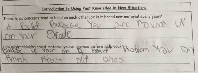 Students are introduced to using past knowledge in a new situation.