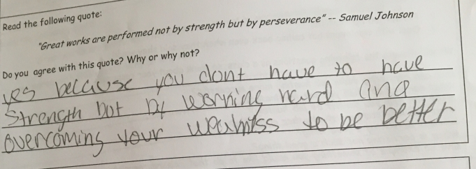 This student already has a strong feeling about what it meant to persist.