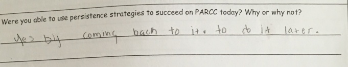 Students reflect on how persistence helps them with difficult tasks, such as PARCC.