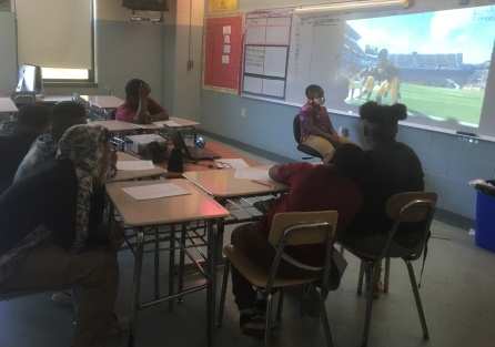 Students on the virtual field trip in class.