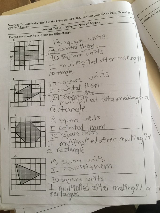 Students used their knowledge of the area of rectangles to find the area of unfamiliar shapes.