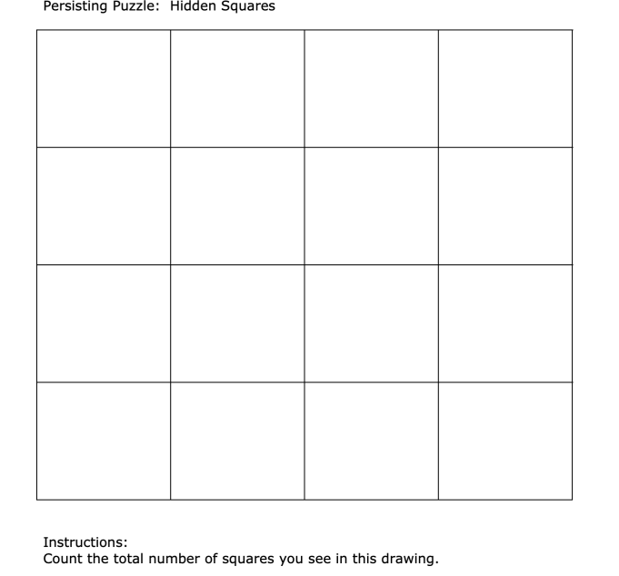 """Students solved this puzzle to count """"the total number of squares"""". There are 30 squares, 1 large one, 16 individual ones, 9 squares of 4, and 4 squares of 9."""