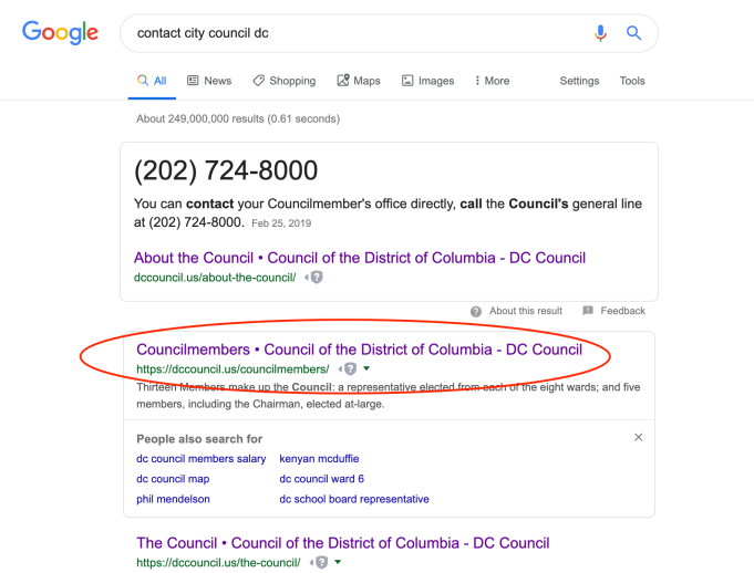 I showed students how to find the list of council members with their emails on Google.